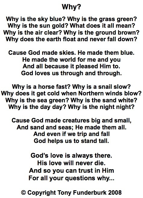 "Singer songwriter, Tony Funderburk's lyrics to ""Why"""