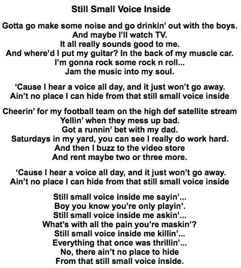 "Christian singer songwriter, Tony Funderburk's lyrics to ""Still Small Voice"""