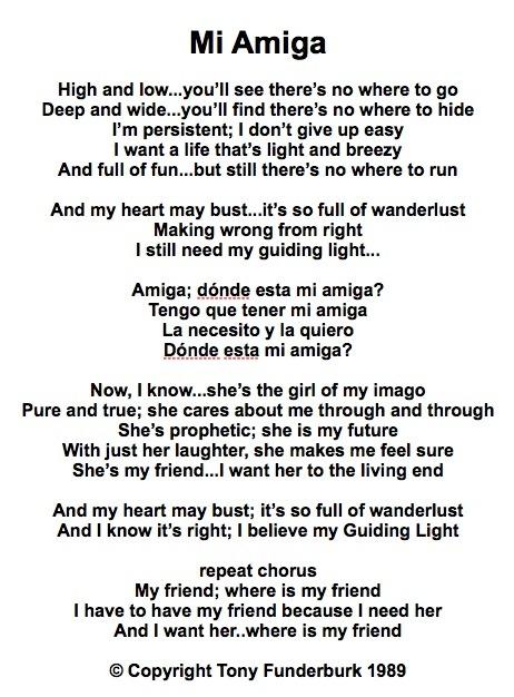 Lyrics to Christian singer songwriter, Tony Funderburk's, song Mi Amiga