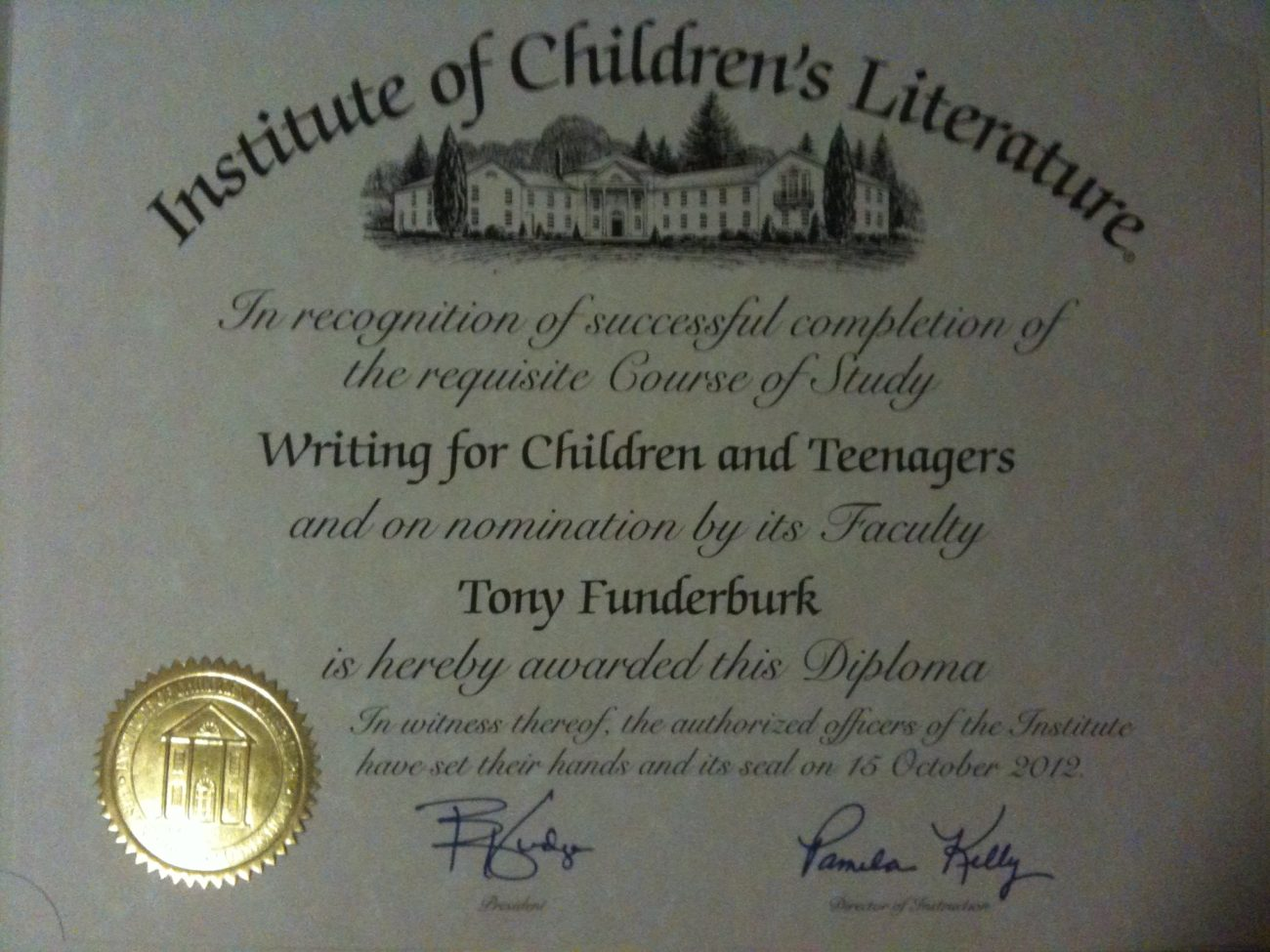 Singer songwriter, children's writer and illustrator Tony Funderburk shares his diploma from the Institute of Children's Literature.