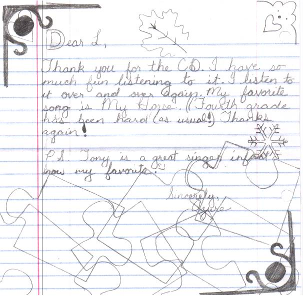 A young girl named Azure sent a letter saying Tony Funderburk is her favorite singer songwriter.