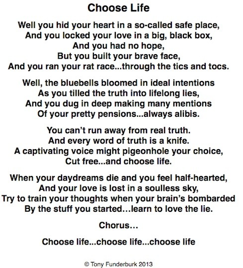 Choose Life: a new song by writer, singer, illustrator Tony Funderburk...for Easter 2013.