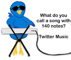 The Twitter bird plays his Twitter music written by singer songwriter, Tony Funderburk.