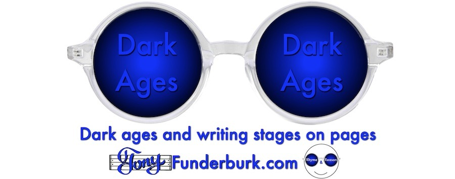 Dark ages and writing stages on pages