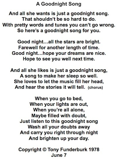 """The lyrics to """"A Goodnight Song"""" by singer songwriter, Tony Funderburk"""