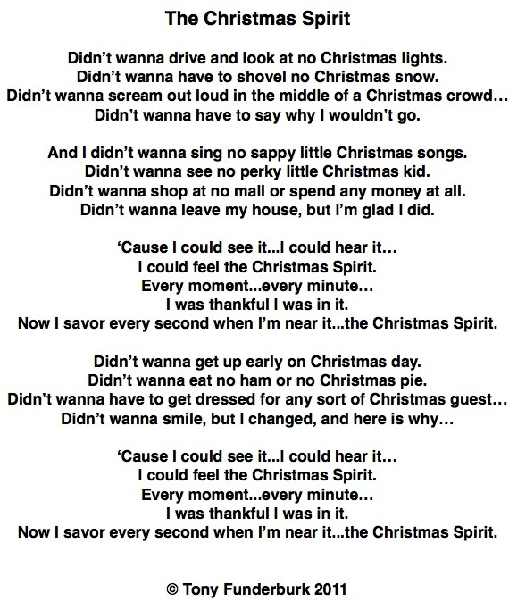 """Singer Songwriter Tony Funderburk's song """"The Christmas Spirit"""""""