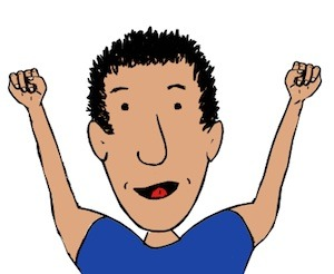 "Children's writer, Tony Funderburk, says ""pump your fists and feel good and happy today""."