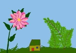 Children's writer, Tony Funderburk, asks you to just imagine a tiny house under the ferns and dahlias.