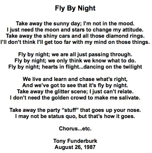 "Christian singer songwriter, Tony Funderburk, shares his song ""Fly By Night"""