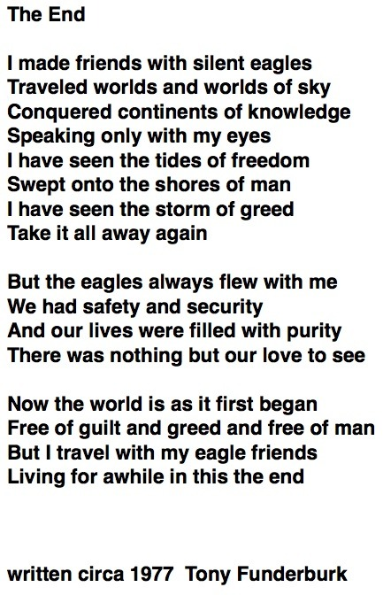 "Lyrics to ""TheEnd""...a poem by singer songwriter Tony Funderburk"