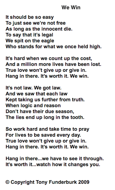 We Win - words and music by Tony Funderburk