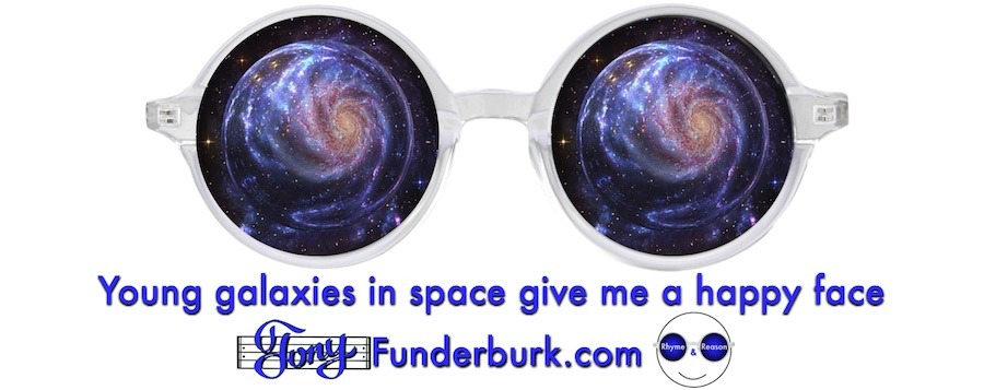 Young galaxies in space give me a happy face