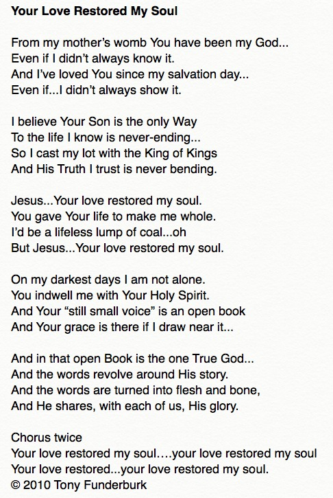 Your Love Restored My Soul - by Tony Funderburk