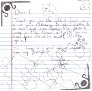 Azure's fan mail letter about her favorite singer songwriter